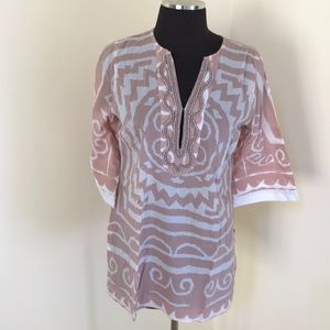 Soft surroundings PXS rosy brown beaded tunic